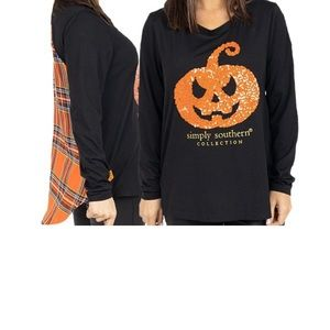 Simply southern Halloween shirt sequined sz small